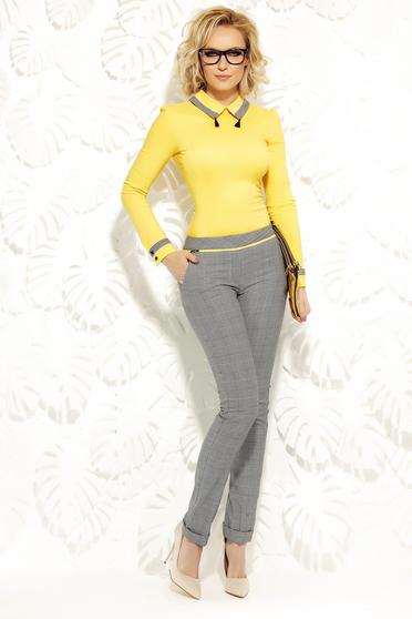 Sárga Fofy irodai zsebes kónikus nadrág enyhén elasztikus szövet