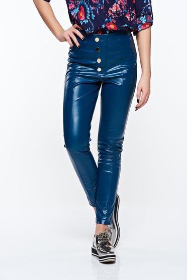 Kék PrettyGirl casual magas derekú kónikus nadrág műbőr