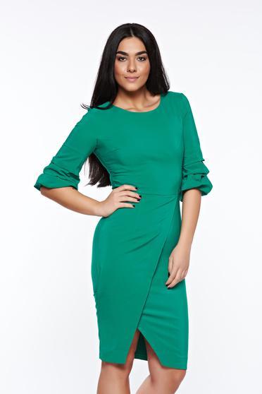 Zöld LaDonna elegáns ceruza ruha enyhén elasztikus szövet átfedéses