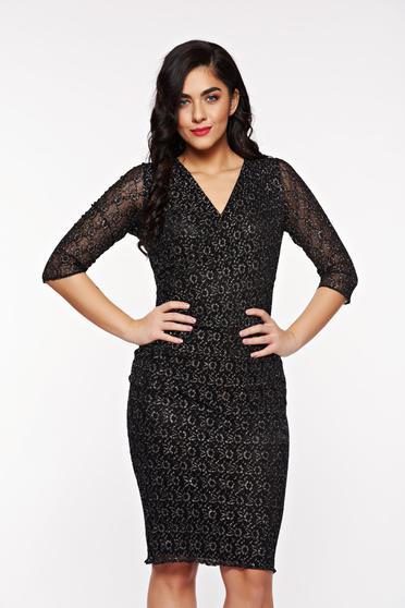 Fekete StarShinerS alkalmi ruha csipkés anyagból lamé szál belső béléssel