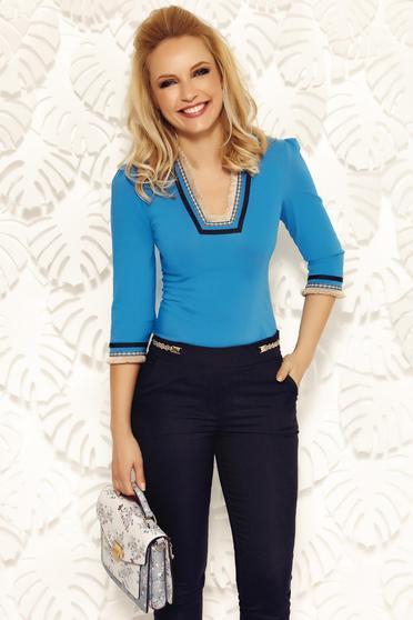 Kék Fofy irodai pamutból készült női ing hímzett betétekkel