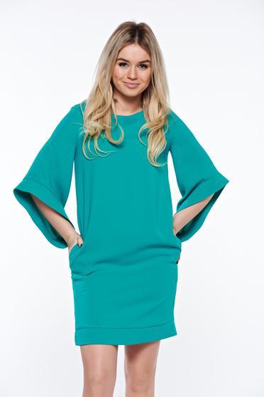 Zöld LaDonna elegáns bő szabás ruha belső béléssel zsebes