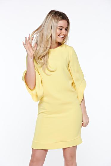 Sárga LaDonna elegáns bő szabás ruha belső béléssel zsebes