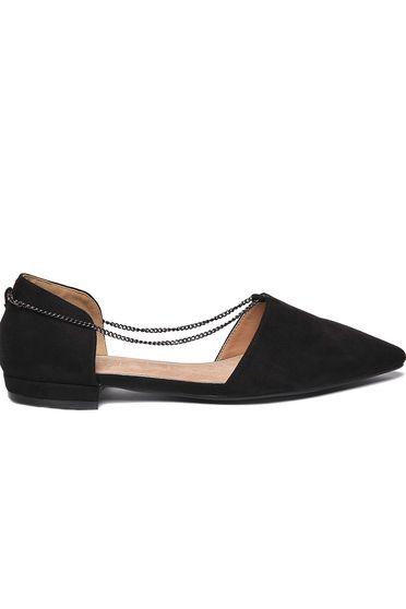 Fekete Top Secret balett cipő casual lánccal enyhén hegyes orral lapos talpú