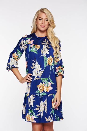 Kék PrettyGirl hétköznapi bő szabású ruha lenge szatén anyagból belső béléssel