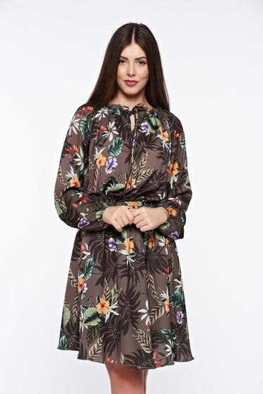 Kaki PrettyGirl hétköznapi bő szabású ruha lenge anyagból derékban rugalmas