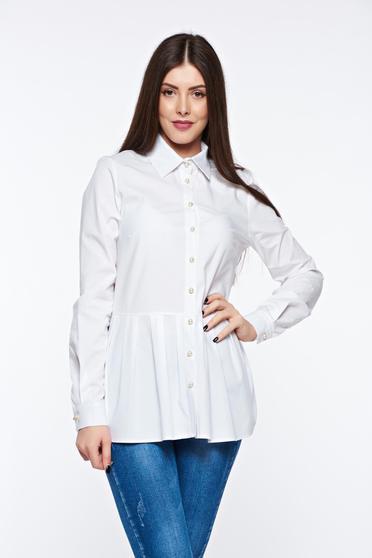 Fehér PrettyGirl casual pamutból készült bő szabás női ing derekán fodros