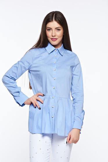 Világoskék PrettyGirl casual pamutból készült bő szabás női ing derekán fodros