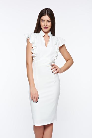 Fehér PrettyGirl elegáns ceruza ruha belső béléssel enyhén rugalmas szövetből