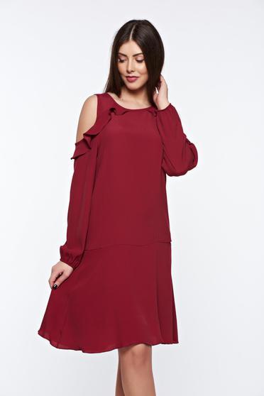 Burgundy PrettyGirl bő szabású hétköznapi ruha kivágott vállrésszel