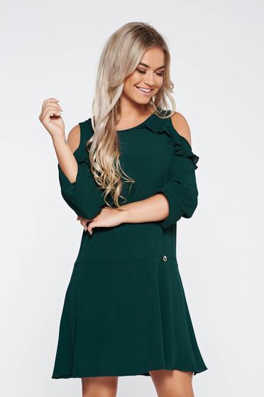 Zöld PrettyGirl bő szabású hétköznapi ruha kivágott vállrésszel