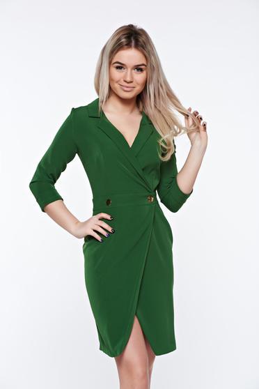 Zöld PrettyGirl átfedéses dekoltált elegáns hétköznapi ruha