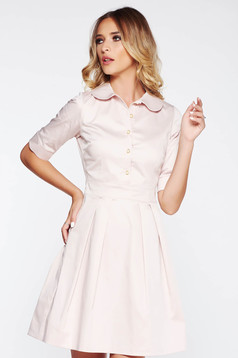 Rózsaszínű PrettyGirl irodai harang ruha enyhén rugalmas anyag kerek gallér