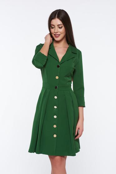 Zöld PrettyGirl irodai zsebes ruha v-dekoltázzsal