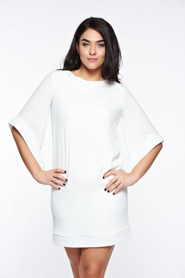 Fehér LaDonna elegáns bő szabású ruha belső béléssel zsebekkel