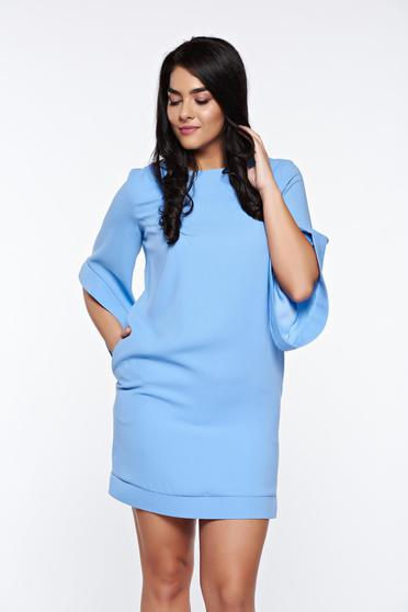 Világoskék LaDonna elegáns bő szabás ruha belső béléssel zsebes