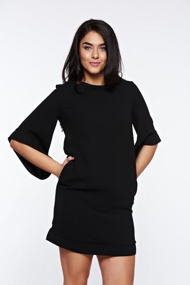 Fekete LaDonna elegáns bő szabás ruha belső béléssel zsebes