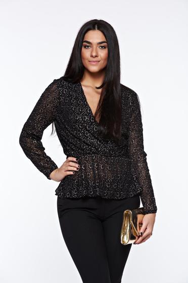 Fekete StarShinerS elegáns derékban rugalmas női blúz lamé szállal átszőtt csipkés anyagból