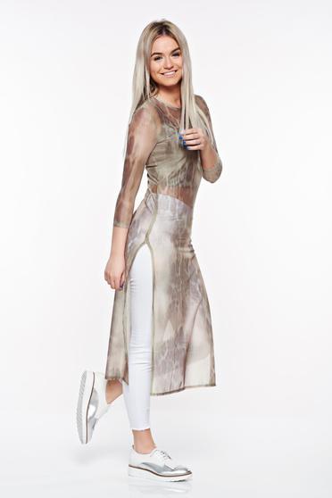 Kaki StarShinerS hosszú casual női blúz rugalmas anyag áttetsző anyag