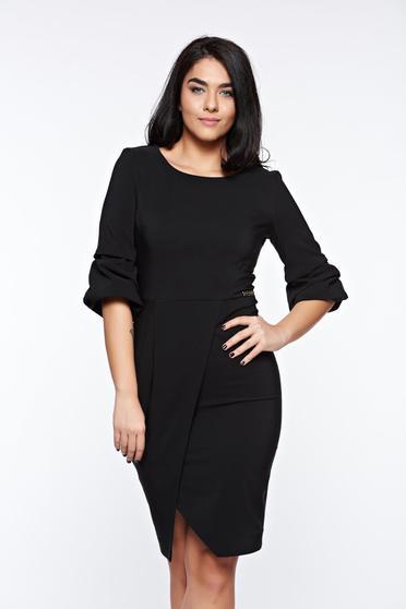 Fekete LaDonna elegáns ceruza ruha enyhén elasztikus szövet átfedéses