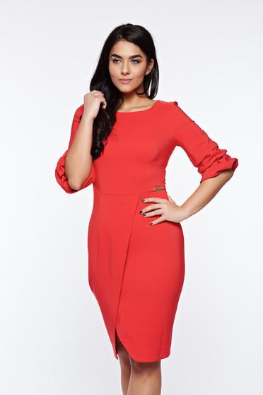 Piros LaDonna elegáns ceruza ruha enyhén elasztikus szövet átfedéses
