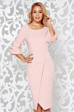 Rózsaszínű LaDonna elegáns ceruza ruha enyhén elasztikus szövet átfedéses