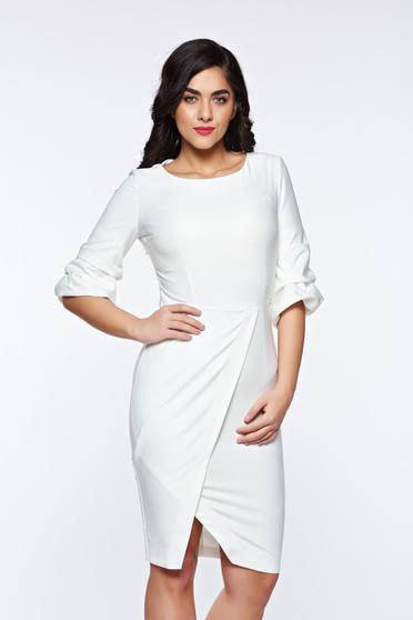 Fehér LaDonna elegáns ceruza ruha enyhén elasztikus szövet