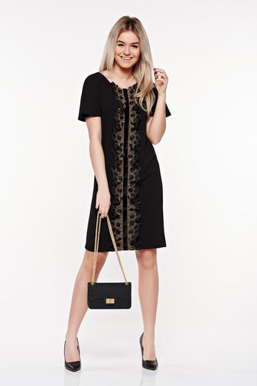 Fekete StarShinerS elegáns bő szabású ruha csipke díszítéssel