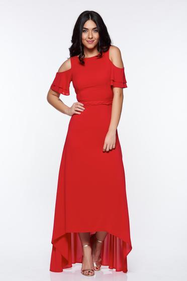 Piros StarShinerS alkalmi ruha kivágott vállrésszel belső béléssel asszimmetrikus szabással