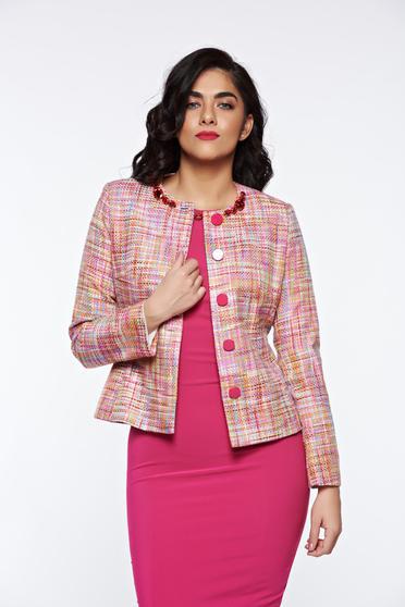 Pink LaDonna elegáns pamutból készült blézer belső béléssel kézzel varrott díszítésekk