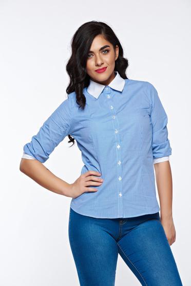 Kék PrettyGirl irodai női ing nem elasztikus pamut hegyes gallér
