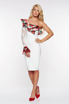Fehér LaDonna elegáns ceruza ruha enyhén elasztikus szövet belső béléssel csipke díszítéssel