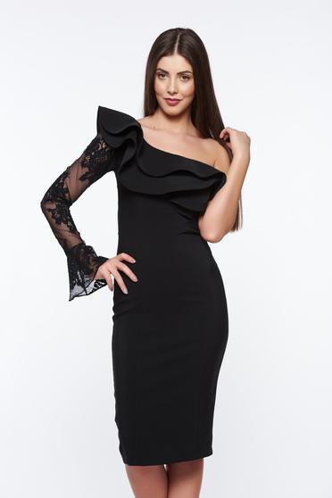 Fekete LaDonna elegáns ceruza ruha belső béléssel enyhén elasztikus szövet csipke díszítéssel