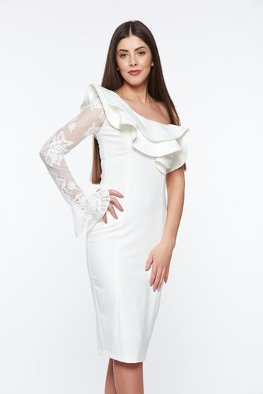 Fehér LaDonna elegáns ceruza ruha belső béléssel enyhén elasztikus szövet csipke díszítéssel