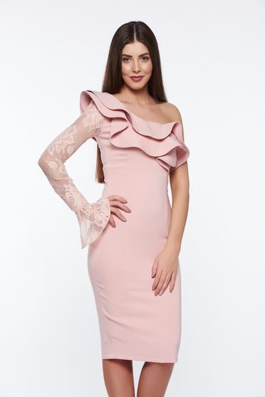 Rózsaszínű LaDonna elegáns ceruza ruha belső béléssel enyhén elasztikus szövet csipke díszítéssel