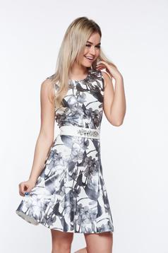 Ezüst StarShinerS elegáns ruha enyhén rugalmas anyag fényes anyag