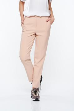 Rózsaszínű Artista nadrág irodai kónikus zsebes enyhén elasztikus szövet