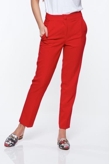 Piros Artista nadrág irodai kónikus zsebes enyhén elasztikus szövet