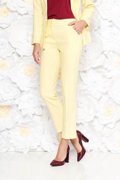 Sárga Artista nadrág irodai kónikus zsebes enyhén elasztikus szövet