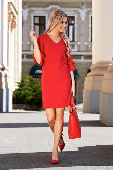 Piros StarShinerS irodai bő szabású ruha enyhén rugalmas szövet ráncolt ujjak