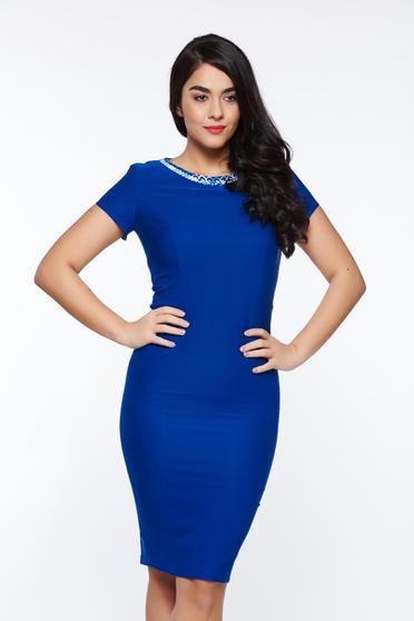Kék LaDonna elegáns ceruza ruha enyhén elasztikus szövet belső béléssel
