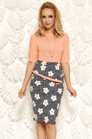 Rózsaszínű Fofy irodai pamutból készült szűk szabásu női ing kivágott ujjrész