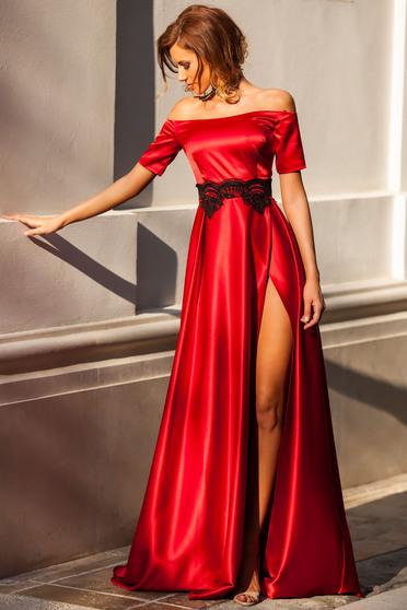 Piros Artista alkalmi harang ruha szatén anyagból csipke díszítéssel