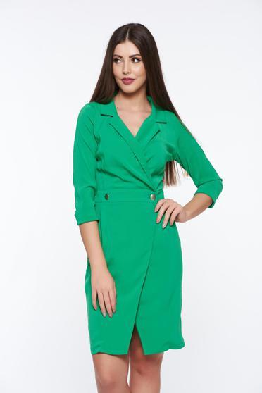 Világos zöld PrettyGirl átfedéses ruha irodai enyhén rugalmas anyag zakó tipusú