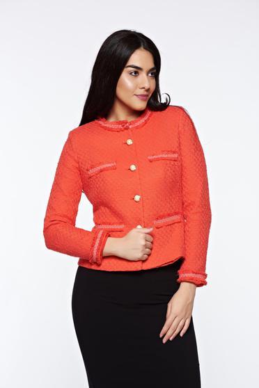 Narancs LaDonna elegáns szűkített blézer nem elasztikus pamut belső béléssel