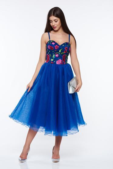 Kék Artista hímzett alkalmi harang ruha belső béléssel szivacsos mellrész