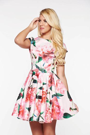 Rózsaszínű Artista alkalmi harang ruha szatén anyagból belső béléssel