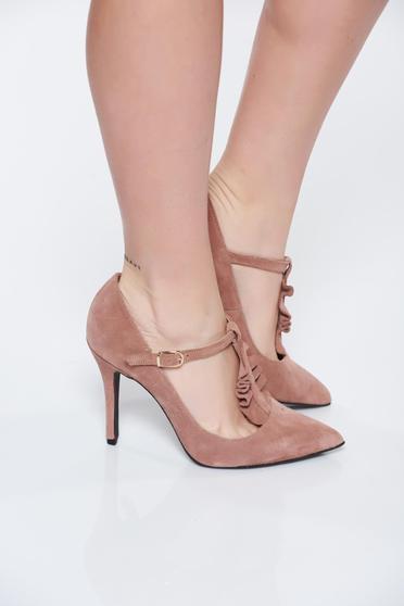 Rózsaszínű MissQ elegáns bőr cipő magassarkú enyhén hegyes orral