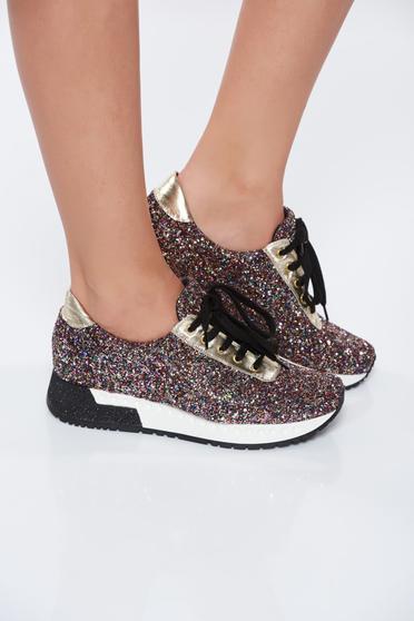 Fekete MissQ casual sport cipő a talp nagyon könnyű csillogó kiegészítők