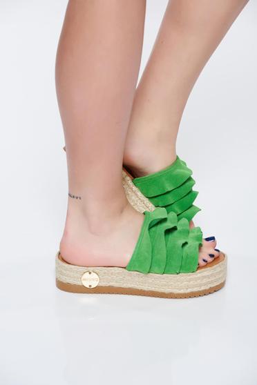 Zöld MissQ papucs casual a talp nagyon könnyű